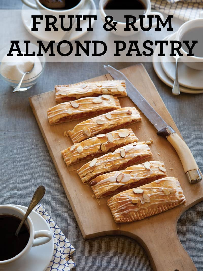 A recipe for a Fruit and Rum Almond Pastry.