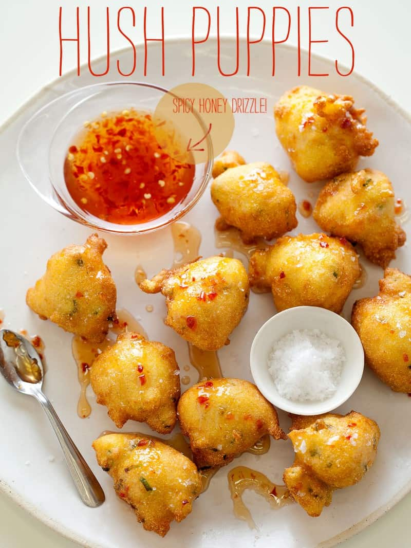 A recipe for Hush Puppies with a spicy honey drizzle.