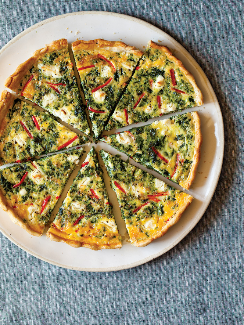 A recipe for Spinach Quiche, with goat cheese, and red bell peppers.