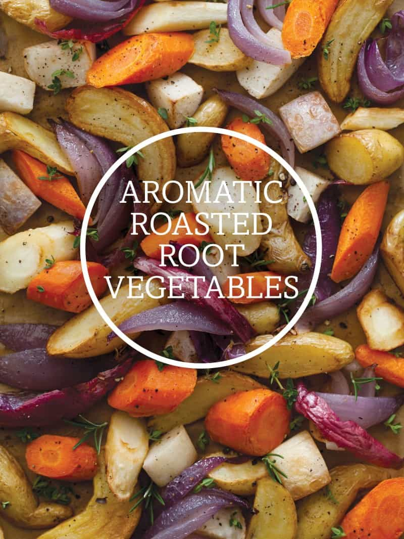 A recipe for Aromatic Roasted Root Vegetables. An easy side dish!