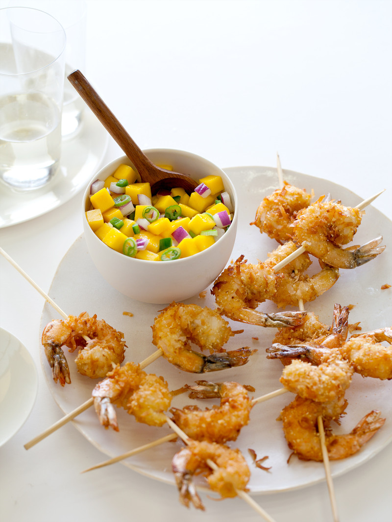 A recipe for Coconut Shrimp with a Mango Salsa