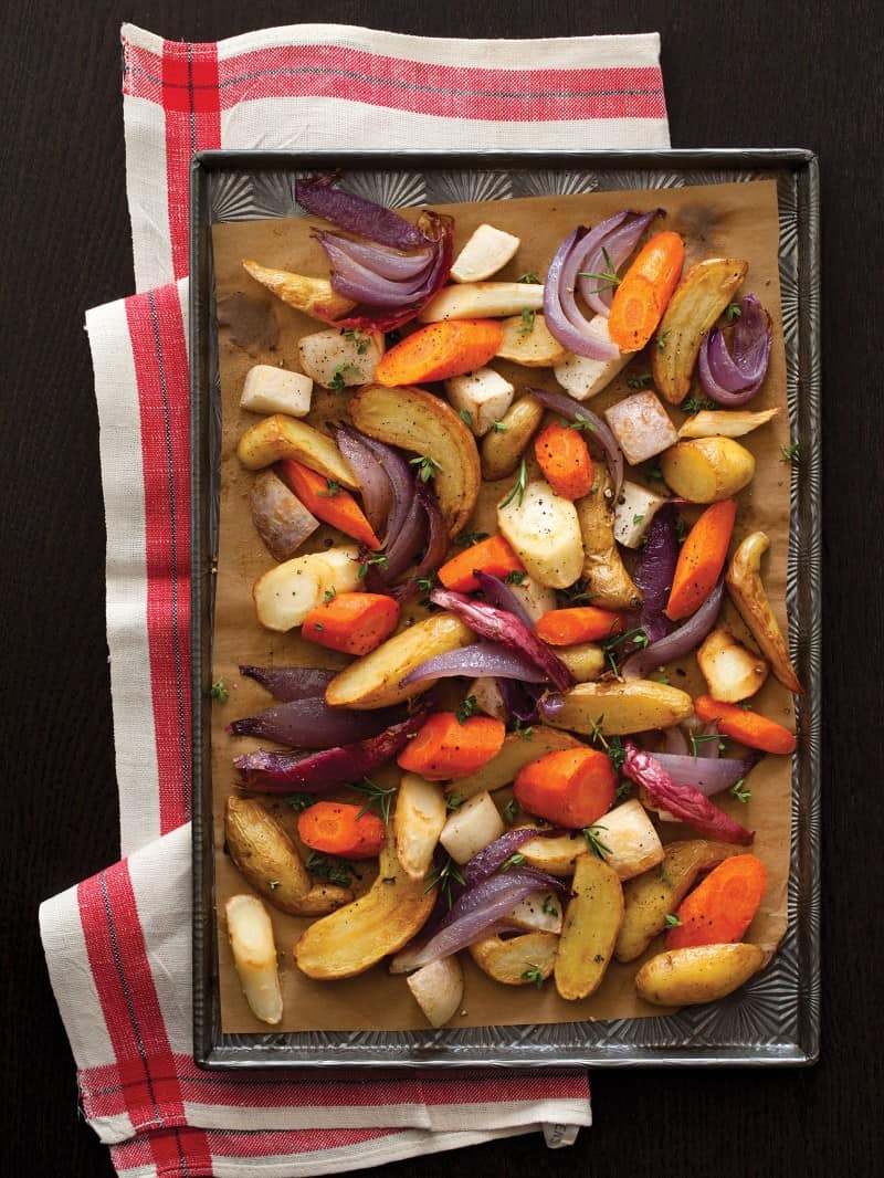 Simple recipe for Roasted Root Vegetables.