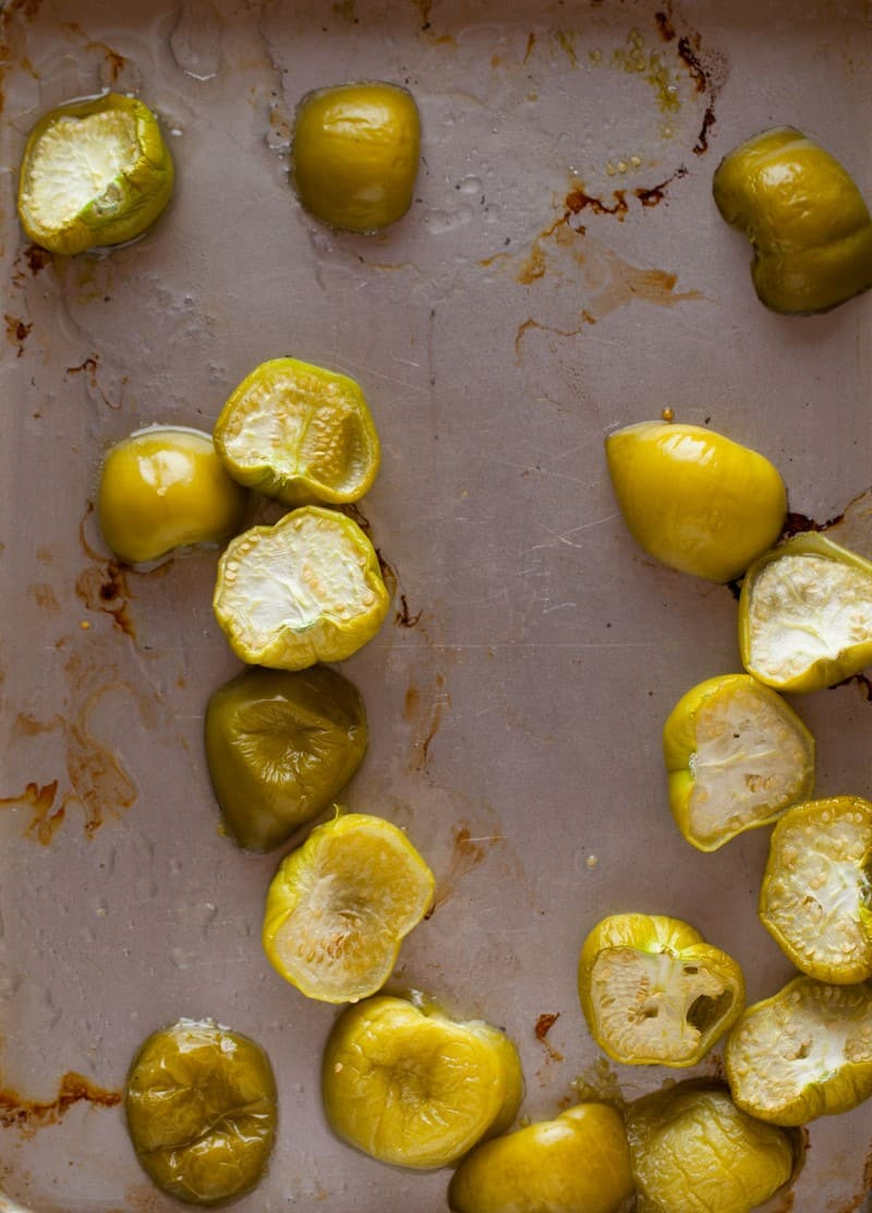 Roasted tomatillos for Grilled Zucchini Tacos.