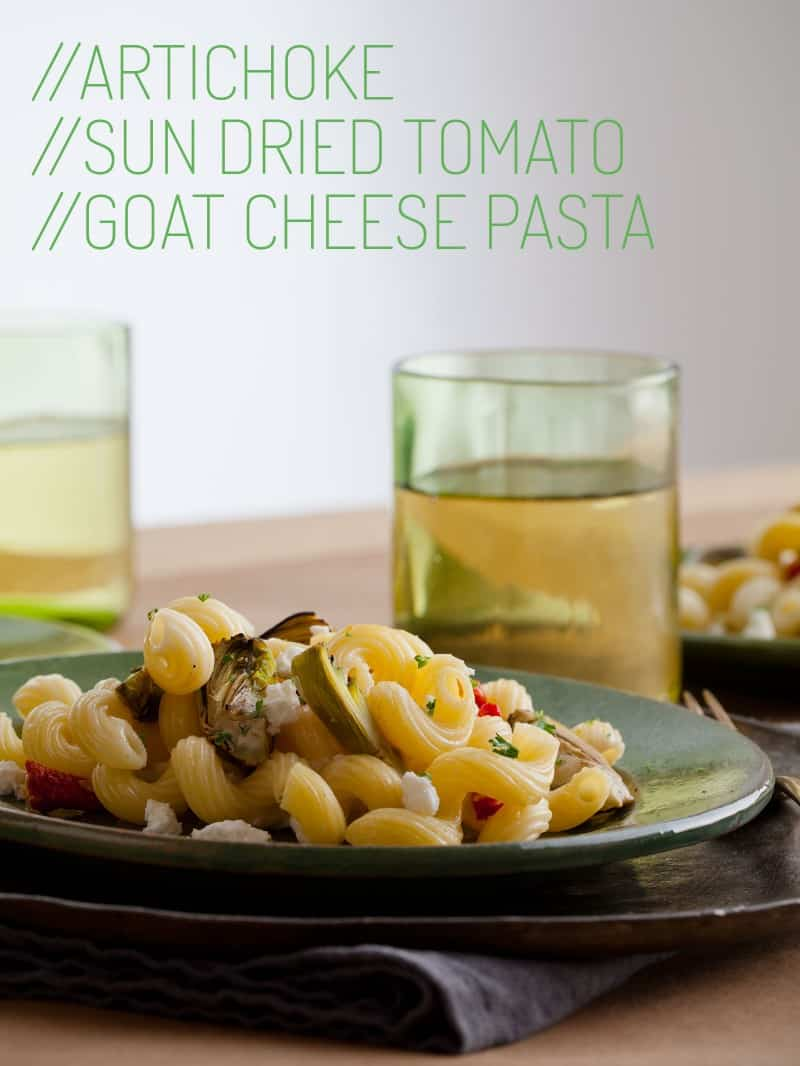 A recipe for Artichoke and Sun Dried Tomato Goat Cheese Pasta dish.