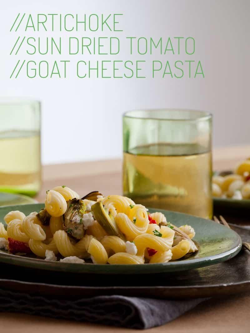 A recipe for Artichoke and Sun Dried Tomato Goat Cheese Pasta dish.