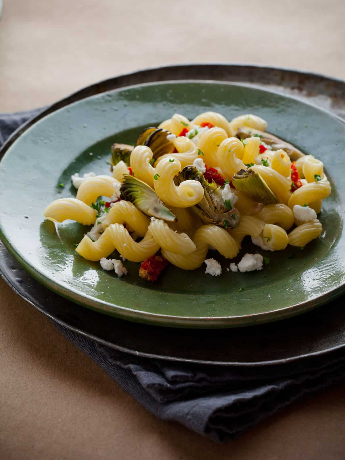 Cavatappi With Artichokes And Three Cheeses Recipes — Dishmaps