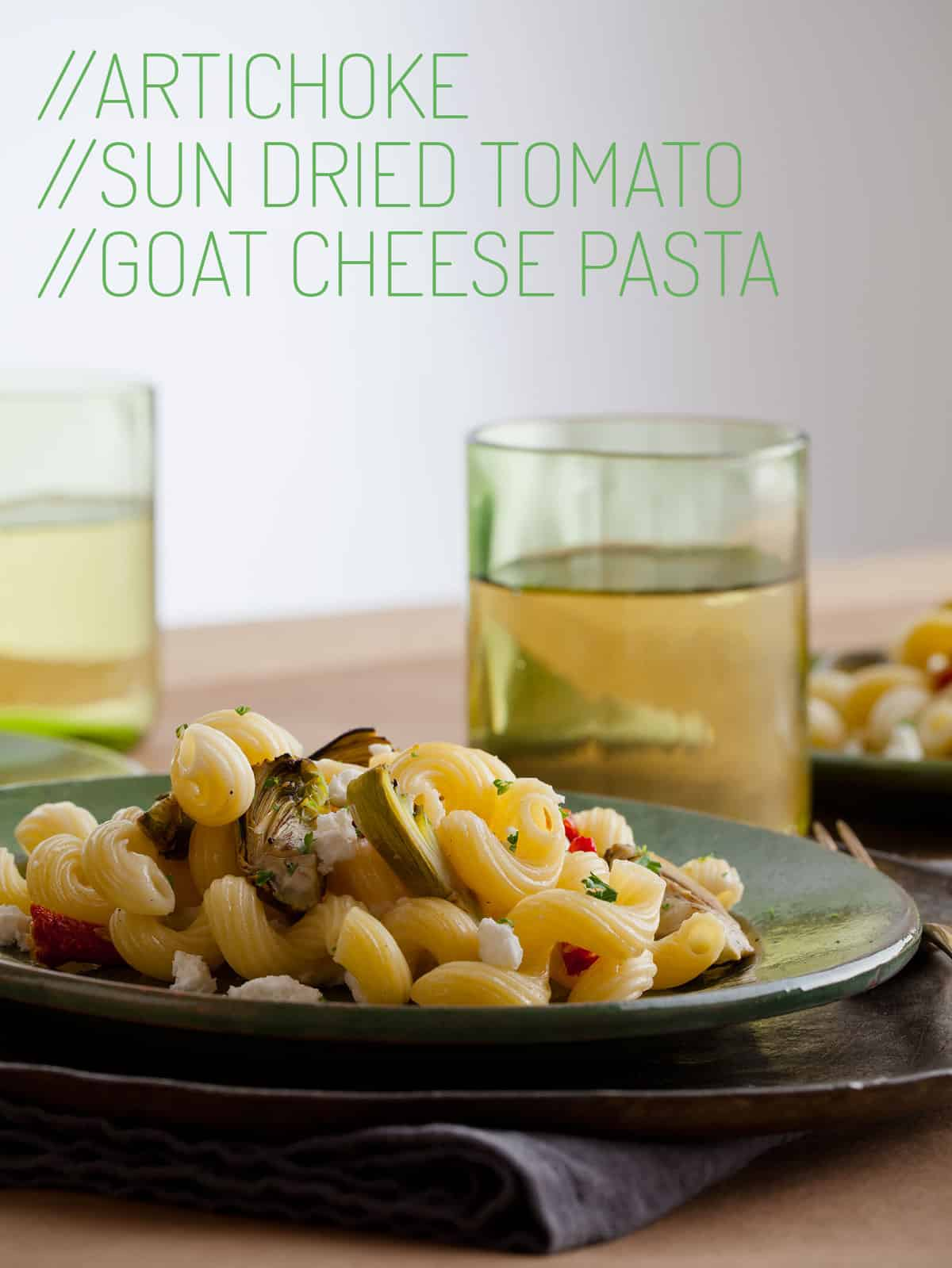 A Recipe For Artichoke And Sun Dried Tomato Goat Cheese Pasta Dish
