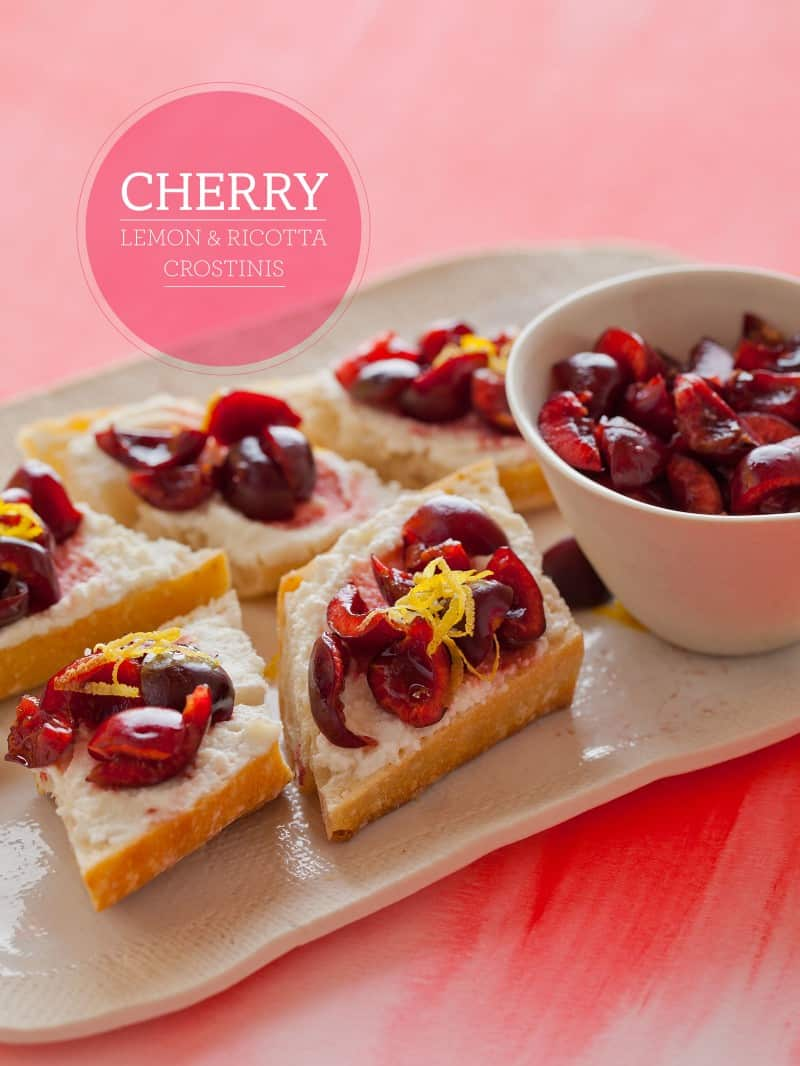 A simple recipe for Cherry, Lemon and Ricotta Crostinis.