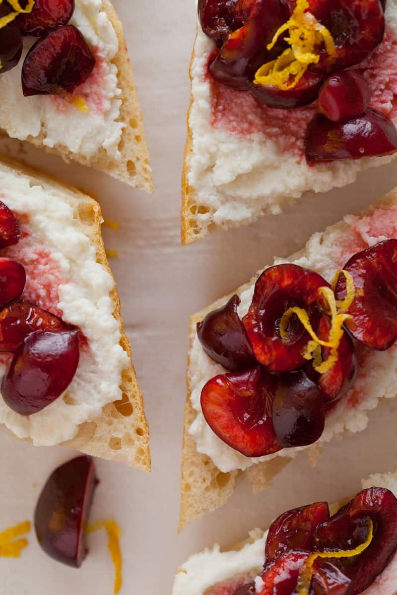 Cherry lemon and ricotta appetizer crostini recipe.