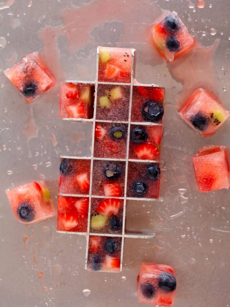 Fruit frozen into ice cubes to liven up your simple drinks.