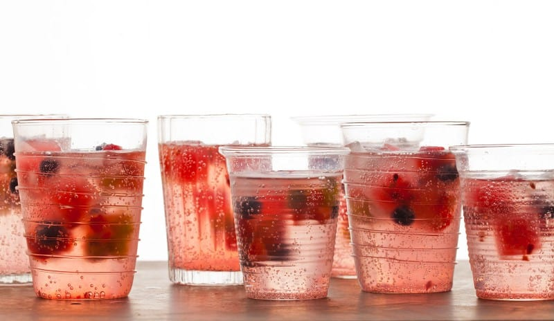 Fruit frozen into ice cubes.