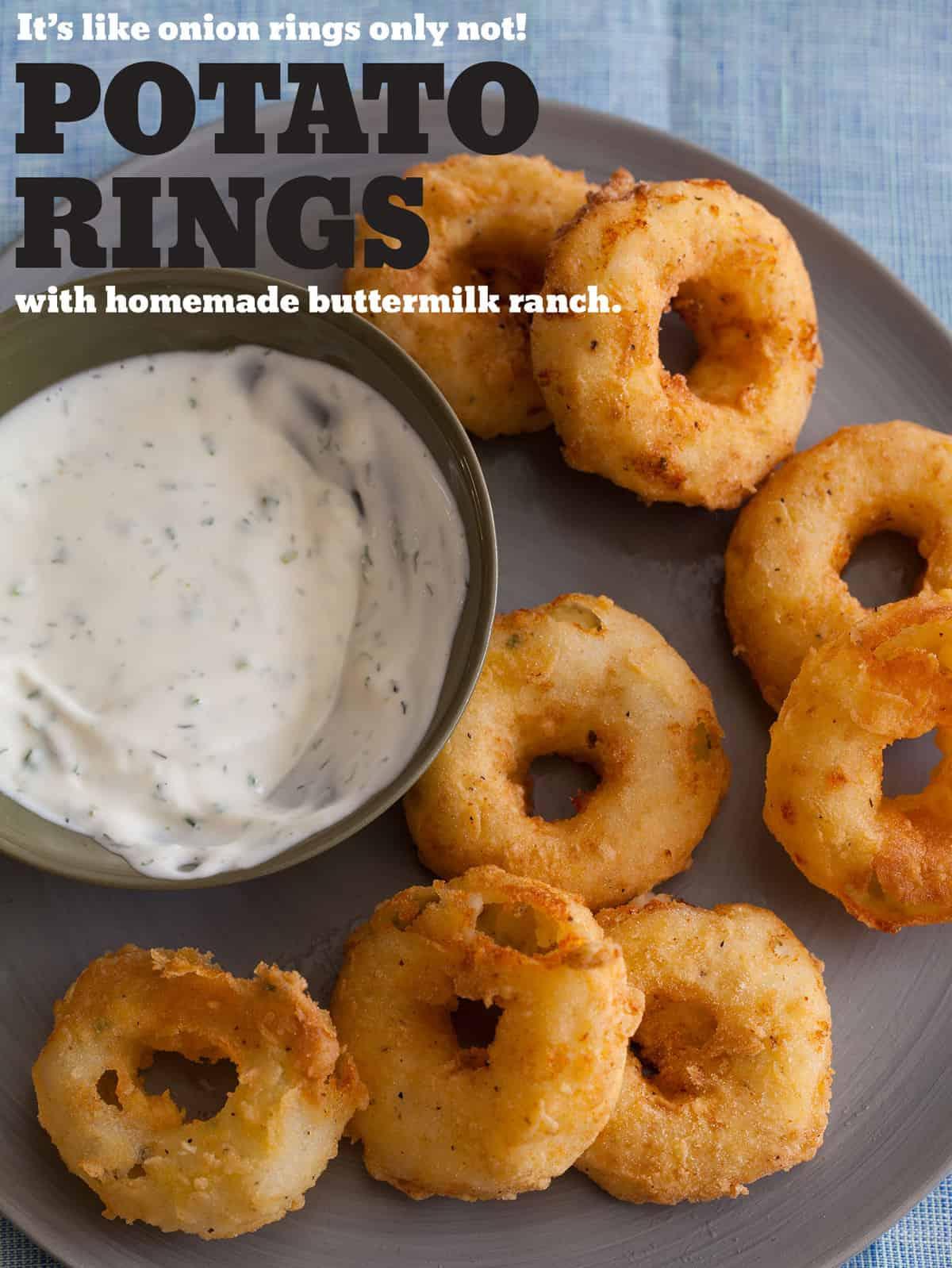Potato Rings with Homemade Buttermilk Ranch | Spoon Fork Bacon