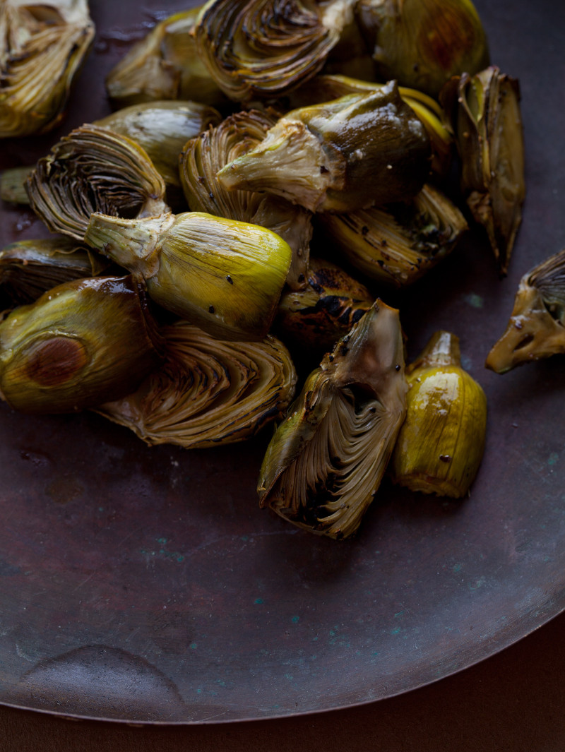 A recipe for roasted baby artichokes.