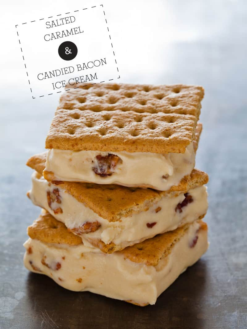 A recipe for Salted Caramel and Candied Bacon Ice Cream.