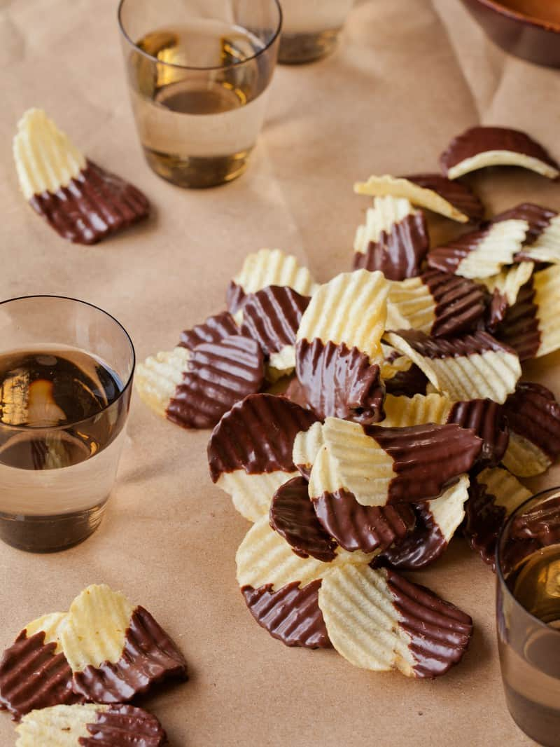 Chocolate Covered Potato Chips, the perfect party food.