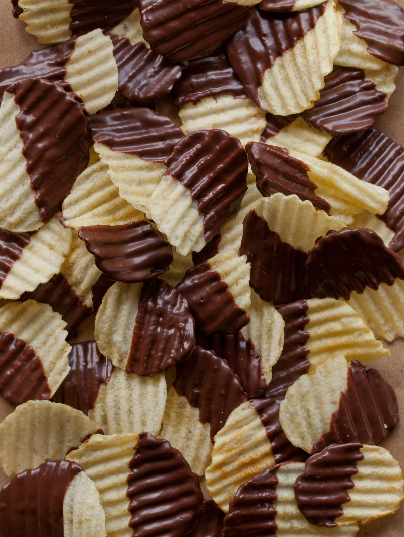 A recipe for Chocolate Covered Potato Chips.