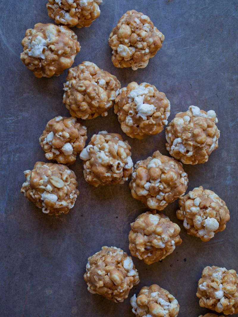 Miniature peanut butter popcorn balls.