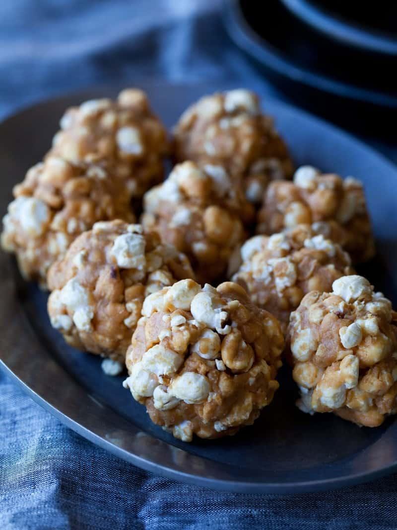 A recipe for bite sized peanut butter popcorn balls.
