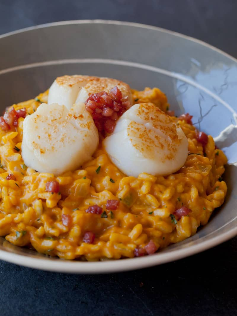 Pumpkin Risotto recipe with seared scallops.