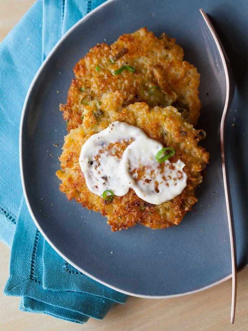 A recipe for Cheesy Quinoa Cakes.