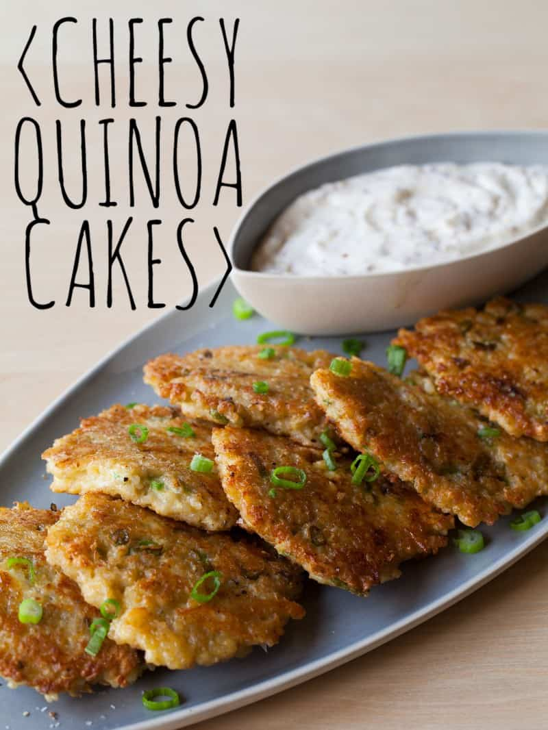 Cheesy Quinoa Cake recipe with a roasted garlic aioli