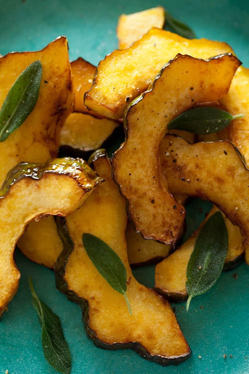 Maple Glazed Roasted Acorn Squash with sage recipe.