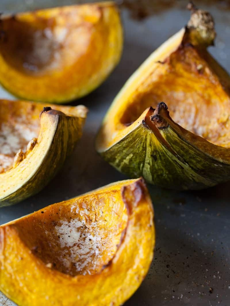 Roasted Kabocha for Kabocha Ravioli.