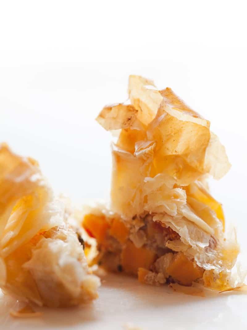 Sweet Potato Pecan and Goat Cheese Bites. Sweet potato mixture wrapped in filo dough.