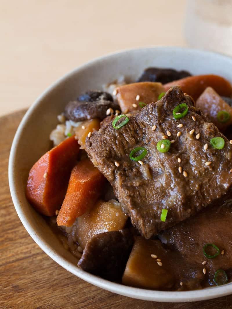 Korean style braised short rib. Galbi Jim recipe.