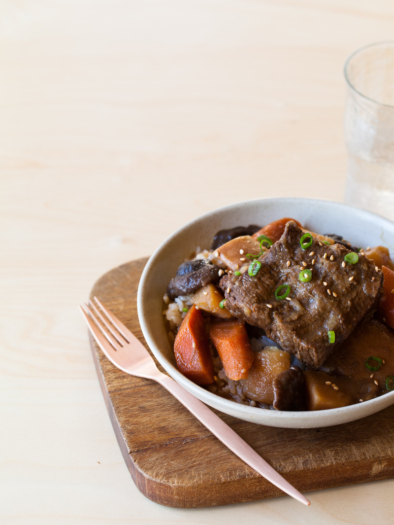 A recipe for Galbi Jim, which is a Korean style braised short rib.