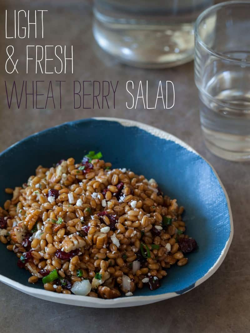 Light and Fresh Wheat Berry Salad recipe with a white balsamic vinaigrette.