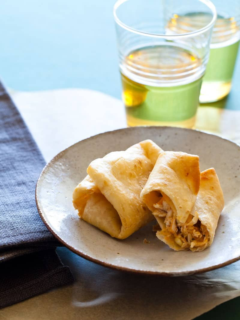 A recipe for Chimichangas with chicken breast and salsa.