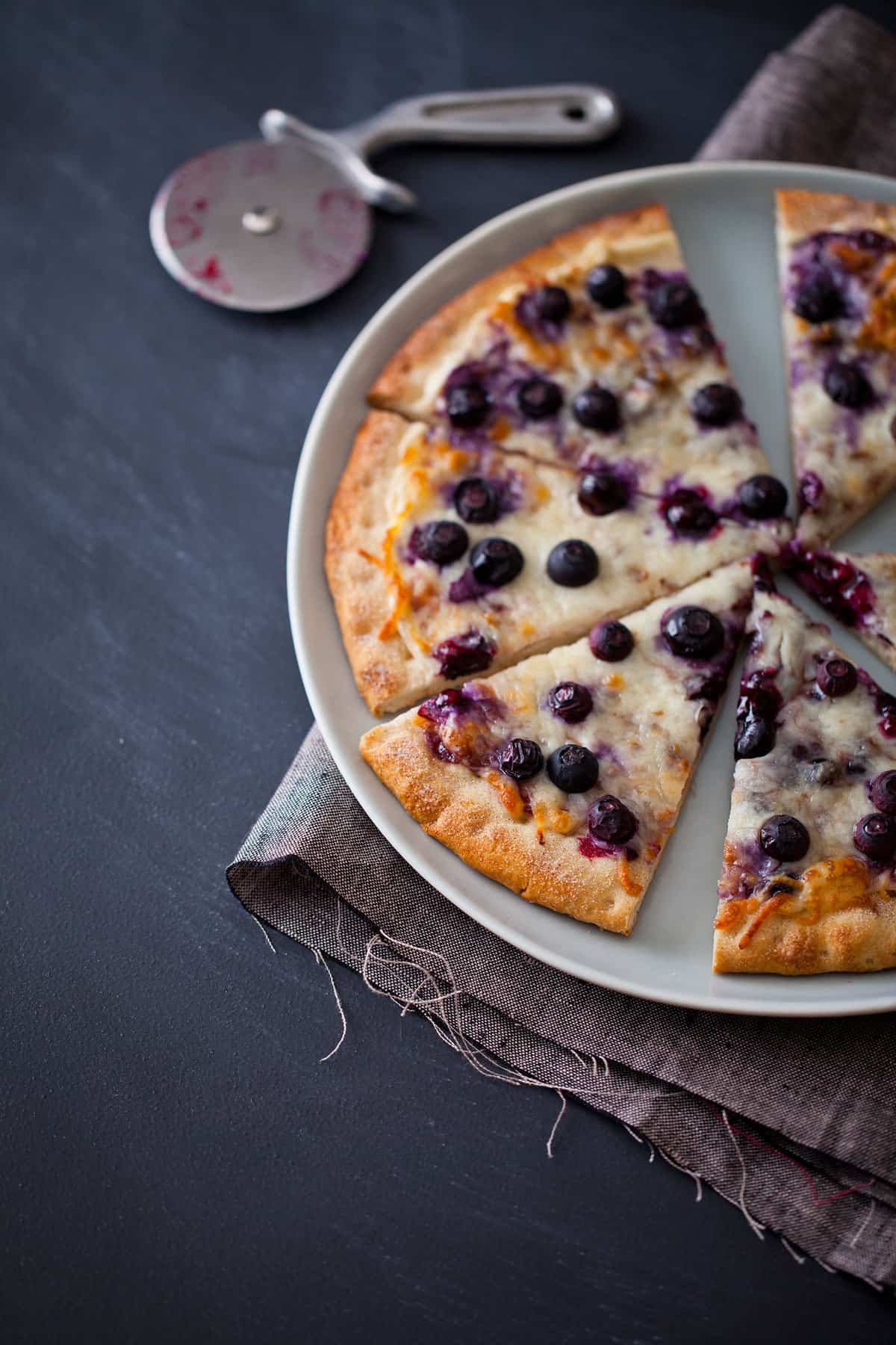 Blueberry Dessert Pizza Spoon Fork Bacon