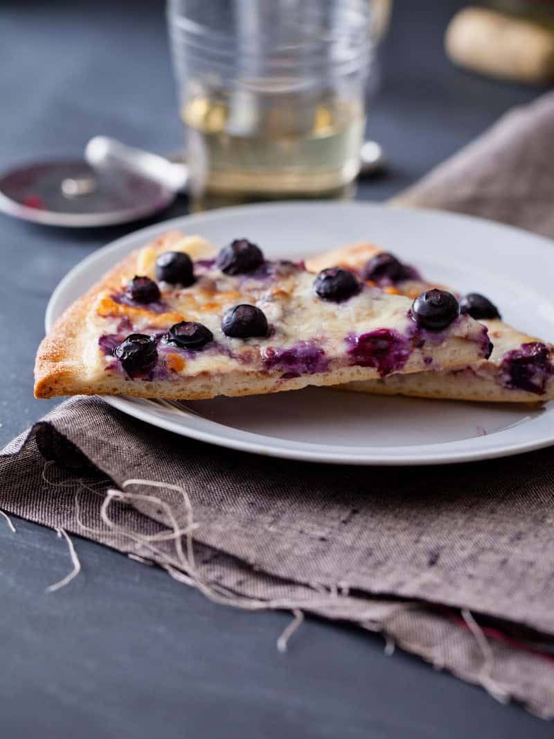 Blueberry Dessert Pizza with cinnamon and sugar.
