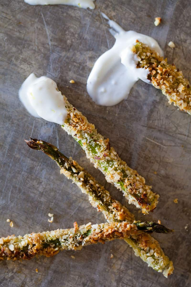Baked Asparagus fries recipe with fun dipping sauces.