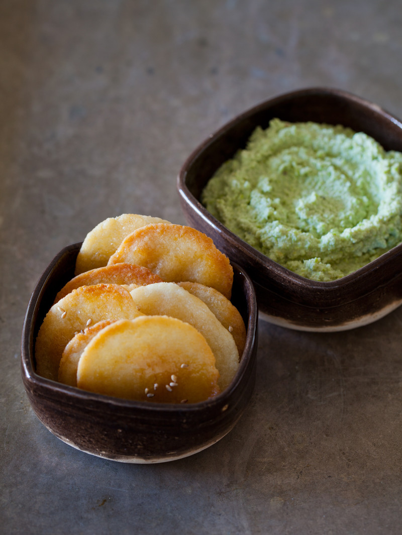 A recipe for Japanese Crackers with Edamame Dip.