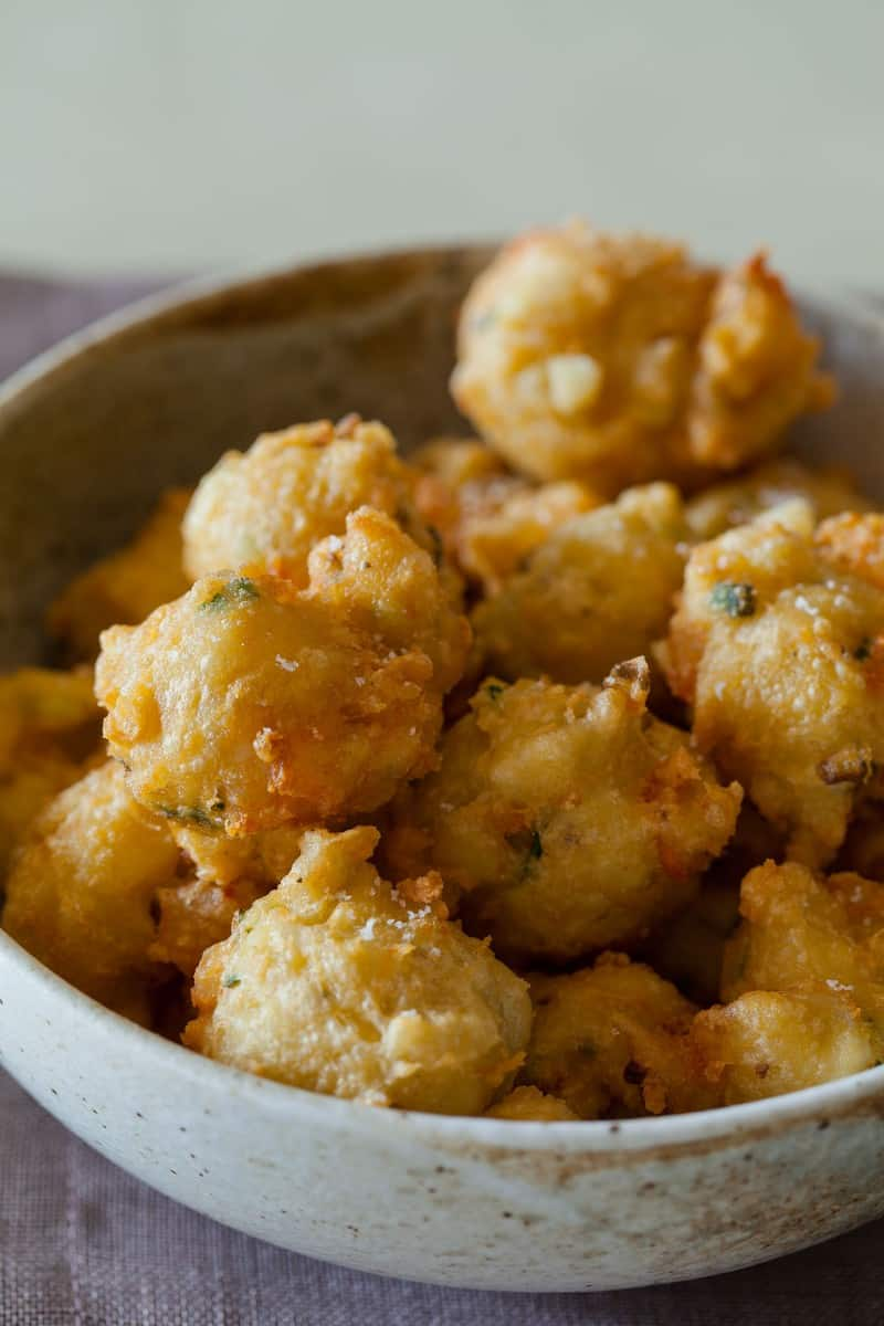 Shrimp Fritters recipe with a spicy honey drizzle.