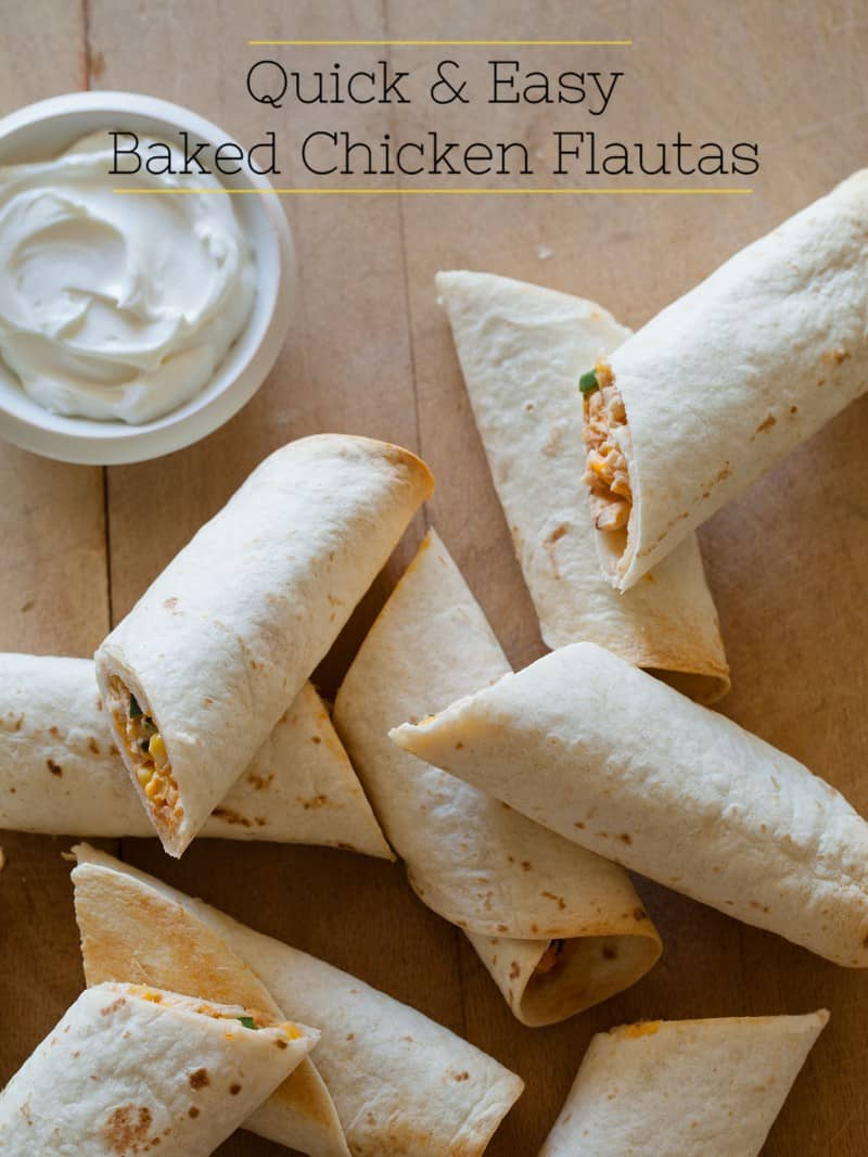 Quick & Easy Baked Chicken Flautas | Spoon Fork Bacon