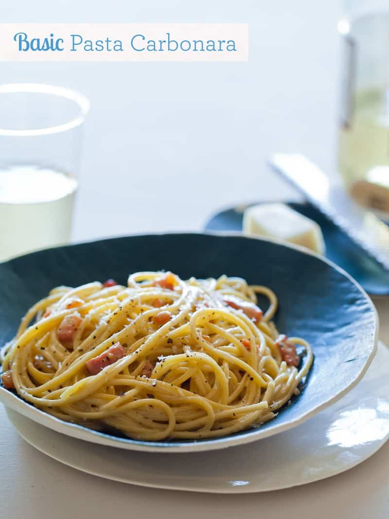 Basic Pasta Carbonara Pasta Recipe Spoon Fork Bacon