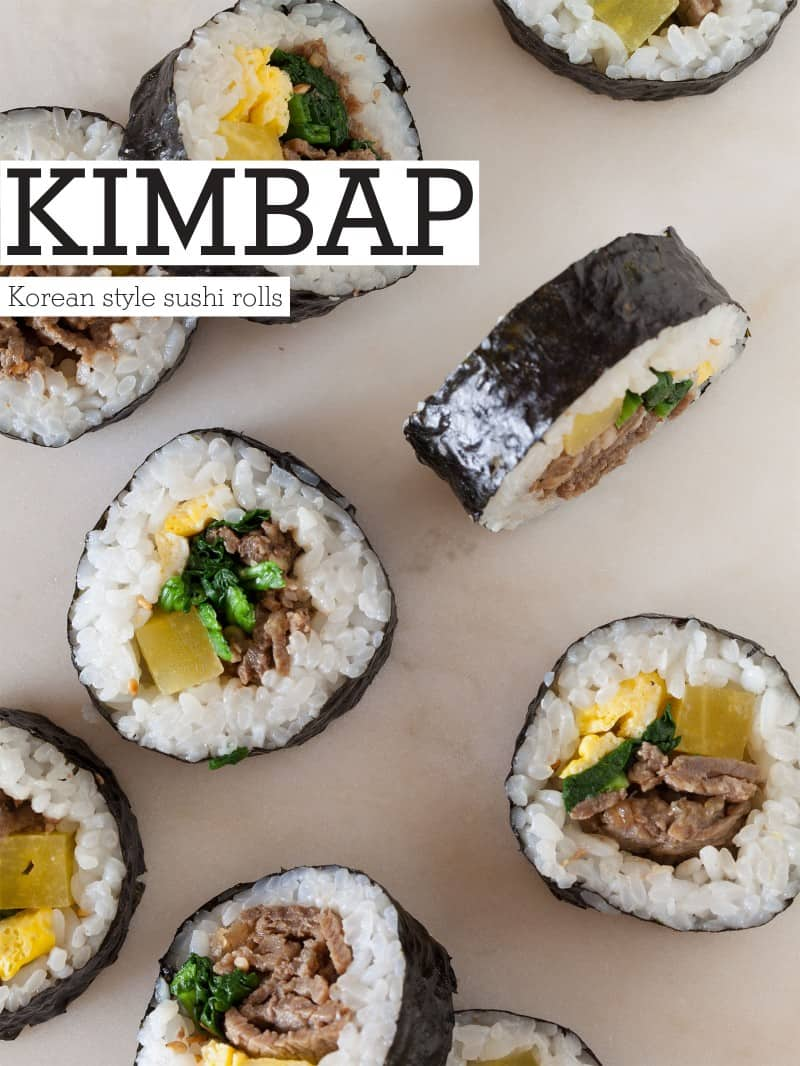 A recipe for Kimbap, which is a Korean style marinated beef sushi roll.