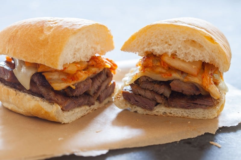 Kimchi Philly Cheesesteak Sandwich