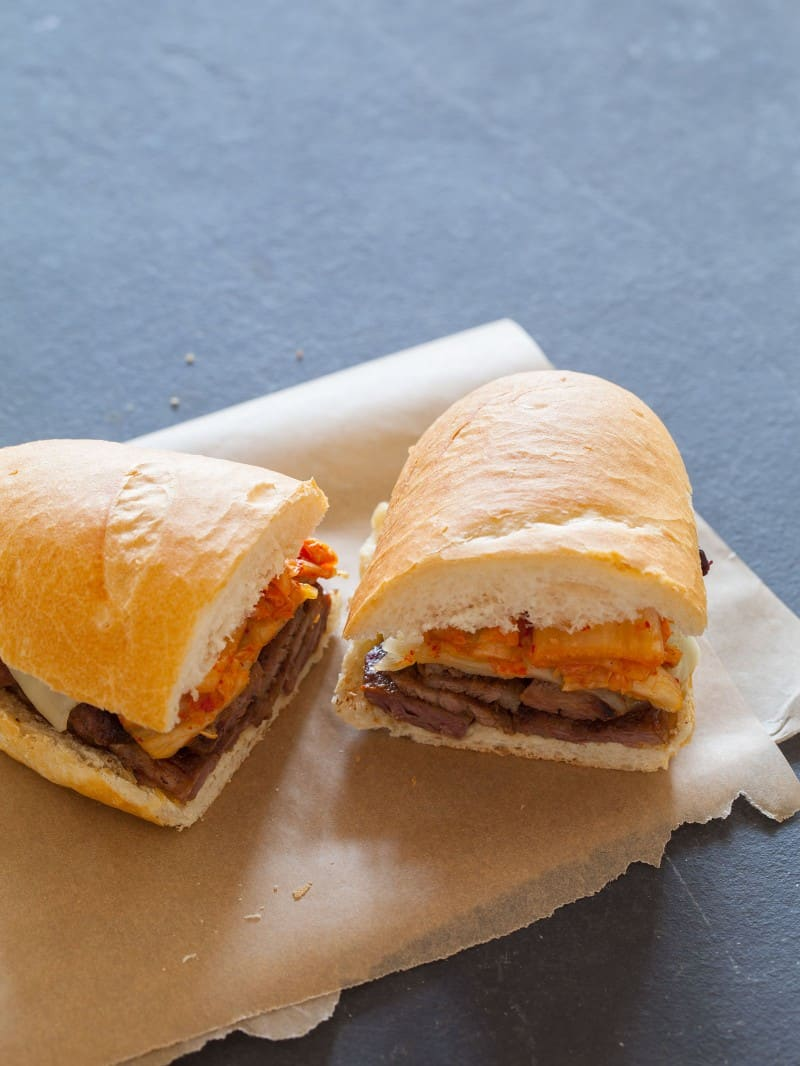 A great recipe for a Kimchi Philly Cheesesteak sandwich.