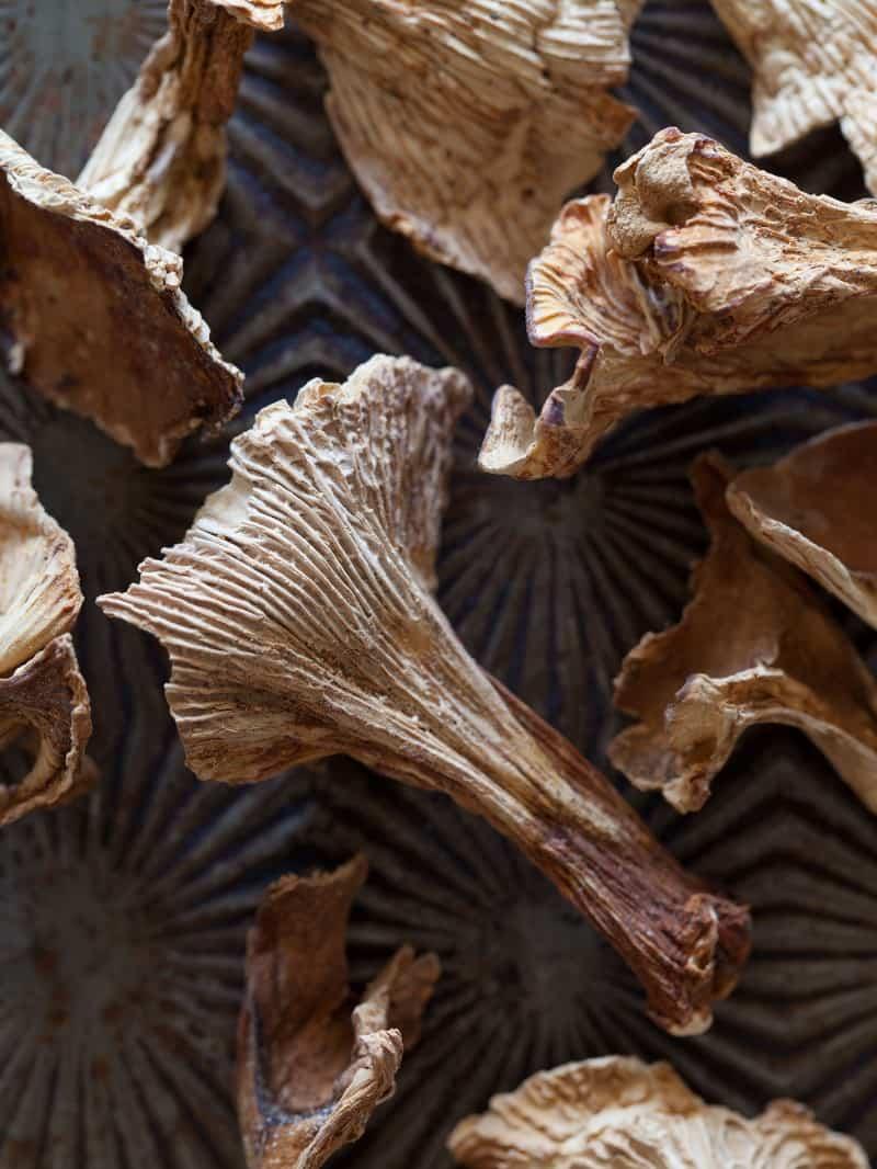 Dried chanterelles for a Wild Mushroom Farro Riotto.
