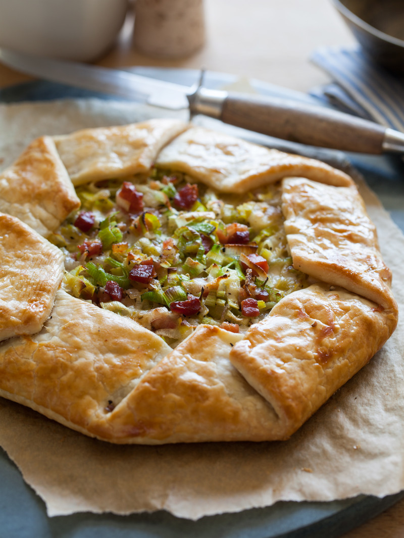 A recipe for a Leek Shallot Pancetta Galette.