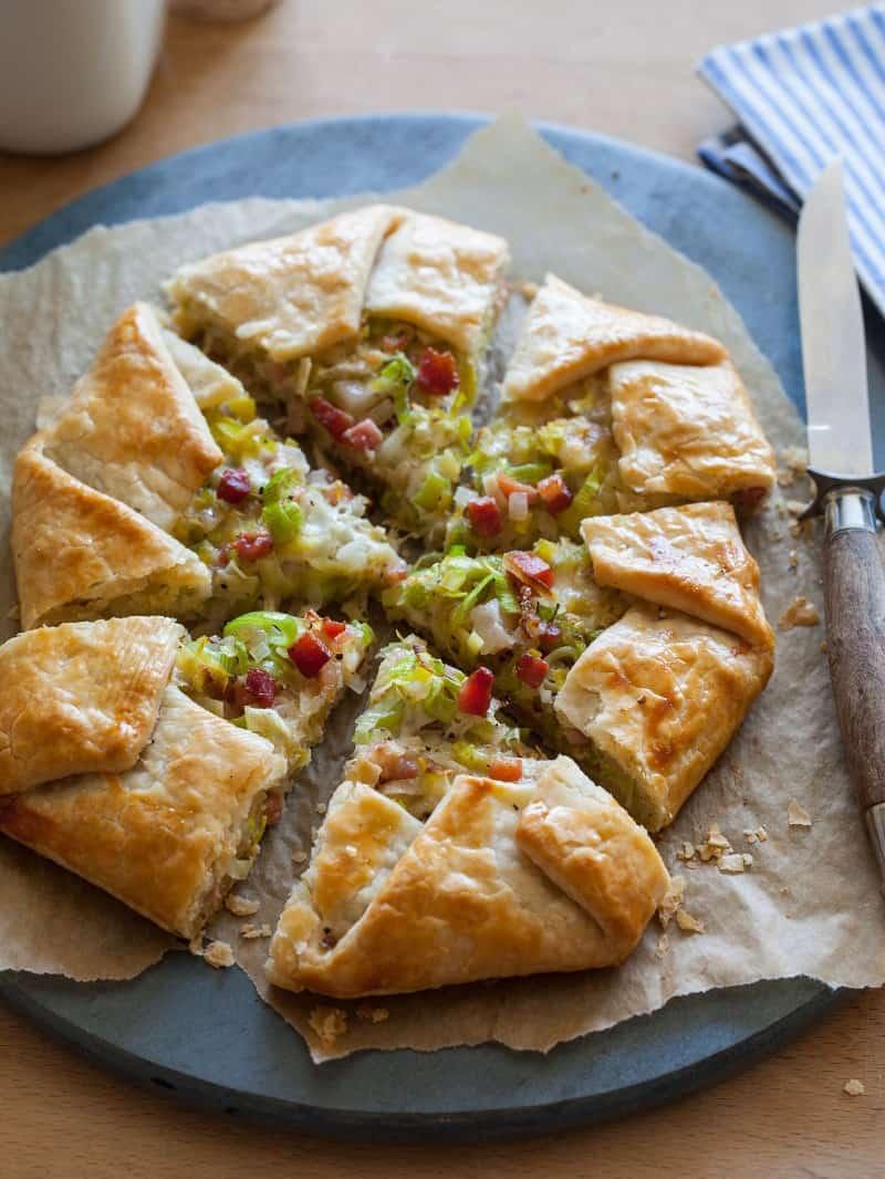 Leek Shallot Pancetta Galette recipe.