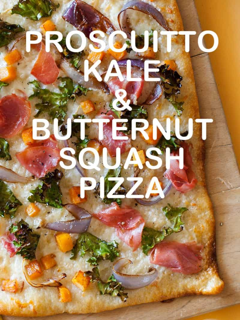 A recipe for Proscuitto Kale and Butternut Squash Pizza.