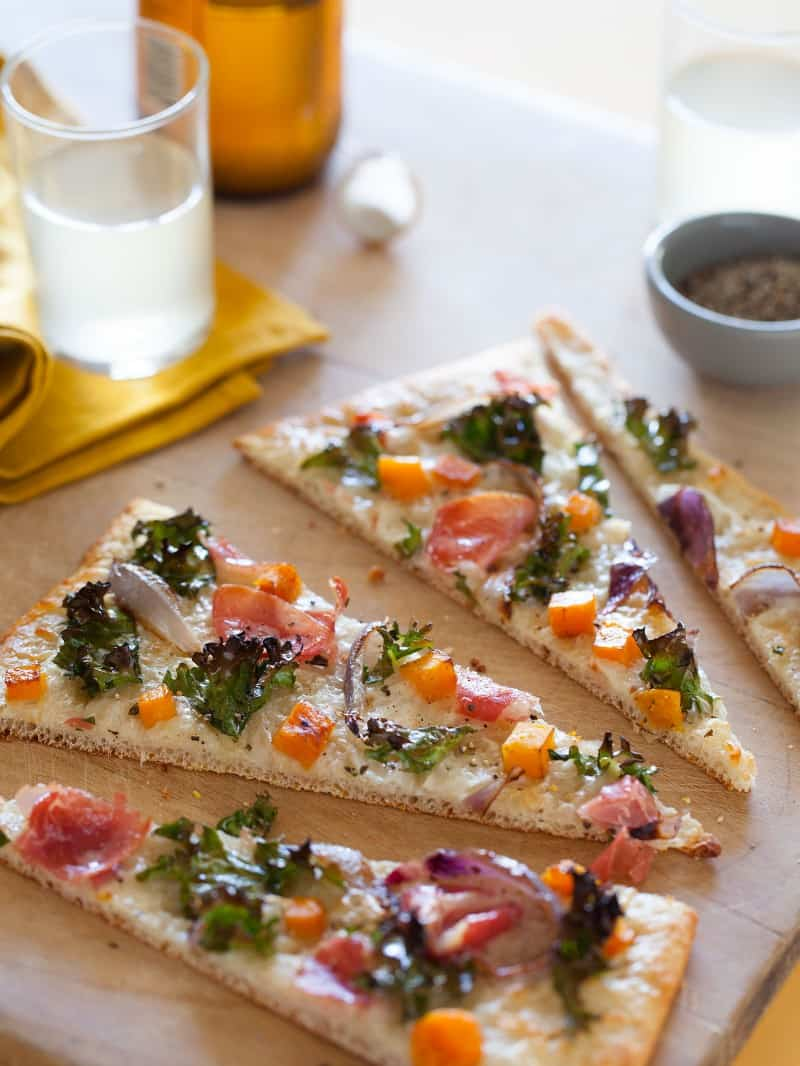 Proscuitto Kale and Butternut Squash Pizza recipe.
