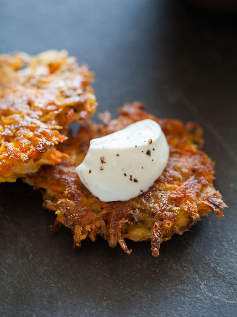 Root Vegetable Fritters made with carrots, parsnips, and purple potatoes.