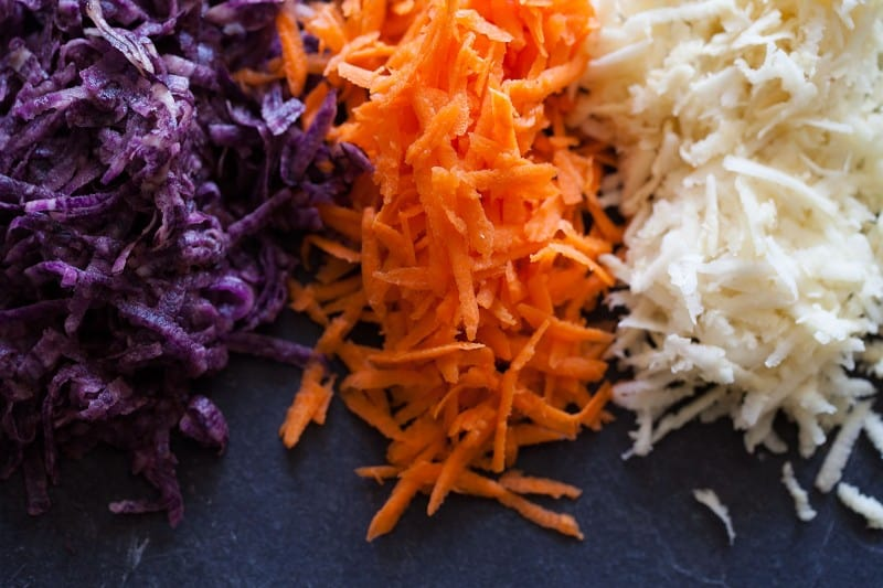 Root vegetables, carrot, parsnips, and purple potatoes.