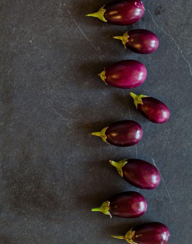Baby eggplants for Stuffed Roasted Baby Eggplants.